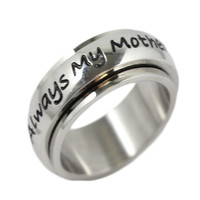 Always My Mother, Forever Friends Stainless Steel Spinner Ring 6-10