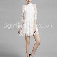 [$59.99] Homecoming Cocktail Party/Prom/Holiday Dress - White A-line High Neck Short/Mini Lace
