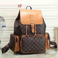 Louis Vuitton Women Fashion Travel Leather Backpack Bookbag