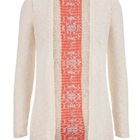 Open Front Lightweight Ethnic Print Cardigan - Baked Clay Combo