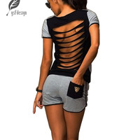 Fashion Women Ladies Casual Sexy Hollow 2 Pcs Backless Tops T-shirt Shorts Sportswear Sets Jumpsuit