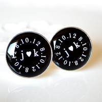 Custom initial heart logo circle monogram cufflinks - great gift for the groom or husband on yout anniversary special occassion