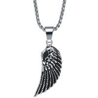 Stainless Steel Ancient Angel Wing Pendant Necklace