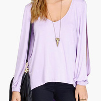 Long Ripped Cuff Sleeve Casual Blouse
