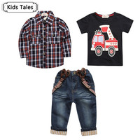 baby spring sleeve print suit Long plaid shirts + T-shirt + jeans