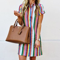 Fashion Hot Selling New Kind of Hot Selling Stripe Turn-collar Women's Dresses