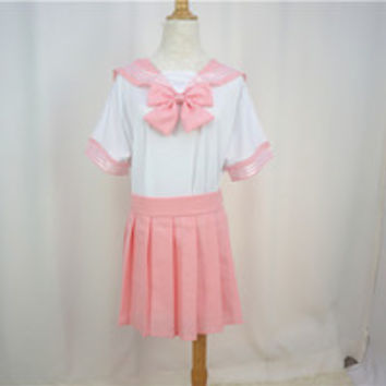 Plus Size Pastel Cute Baby Pink Sailor Seifuku School Uniform Pleated Skirt Only SP140888 from SpreePicky
