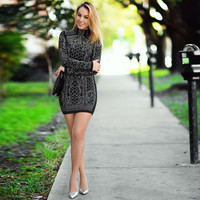 Geometric Retro Rhinestone High-Necked Long-Sleeved Bodycon Tight Dress