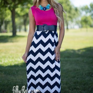 Just a Dreamer Chevron Maxi Dress in Navy