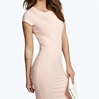 Tasha Cap Sleeve Ribbed Bodycon Dress
