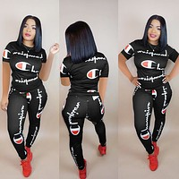 Champion Summer Popular Women Casual Print Top Pants Trousers Set Two-Piece Sportswear Black