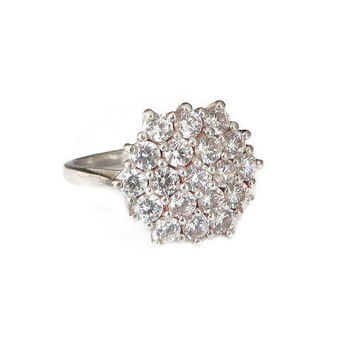 Sterling CZ Cluster Ring, Cubic Zirconia, Sterling Silver, Faux Diamond, Vintage Ring, Vintage Jewelry, Size 7.5