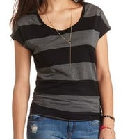 SHORT SLEEVE SIDE-RUCHED STRIPED TEE