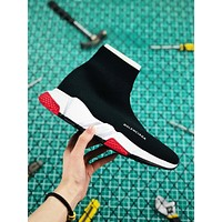 Balenciaga Stretch In Black Knit Speed Trainers With White And Red Sole Sneaker