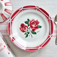 french vintage plates with red rose pattern - set of 4