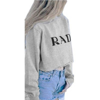 Gray Crop Top Cropped Short Tshirt Autumn Plus Size Cute Women Tops And Tees Causal Tee RAD Shirt Womens Long Sleeve Tops = 5613032577
