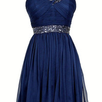 Spaghetti straps Beading Homecoming Dresses Navy Blue Homecoming Dress