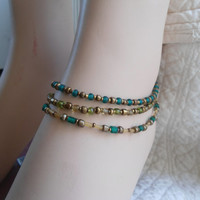 Set of 3 Green Yellow and brass Anklets Hippie Boho Summer Jewelry Anklets