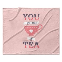 "Daisy Beatrice ""My Cup of Tea"" Pink Purple Fleece Throw Blanket"