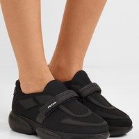 PRADA Cloudbust Allacciate logo-embossed rubber and leather-trimmed mesh sneakers