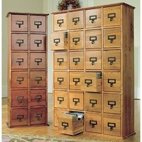 Retro-Style Wooden Multimedia Library File Cabinets