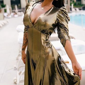 Hot style hot sell sexy deep V gold mesh wide leg pants