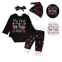 2017 Newborn Baby Boy Girl Clothes Set My First New Year Infant Bebes Bodysuit Romper Pant Hat Headband 4PCS Outfit Clothing Set