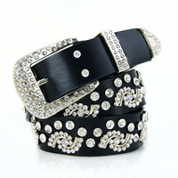 Women's fashion belt Rhinestone Belts all-match women cunmmerbunds  Accessories belts for women black  belt