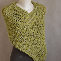 Poncho Olive Green Shades, Chunky Poncho for Women, Loose Knit Chunky Capelet, Loose Knit Poncho, Ready To Ship