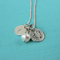 Baby push gift, New baby necklace, gift for new mom, push present, sterling silver personalized initial necklace, baby feet baby shower gift