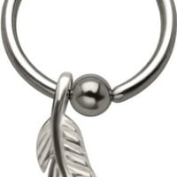 Feather 925 Sterling Silver and Stainless Steel Captive Eyebrow Nipple Tragus Cartilage Ring