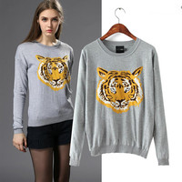 Tiger Embroidery Long Sleeve Knit Sweater