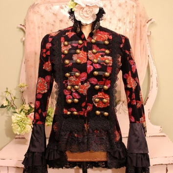 Victorian Style Jacket, Black Lace Coat, Equestrian Boho Jacket, Military Lace Jacket, Vintage Button jacket, Bohemian Clothes, Medium Small