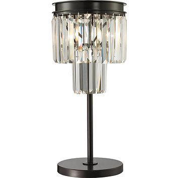 """22""""H Palacial 1-Light Crystal Table Lamp Oil Rubbed Bronze"""