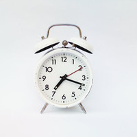 Vintage soviet alarm clock white retro clock USSR collectible metal clock mid century mechanical clock working condition clock wind up alarm
