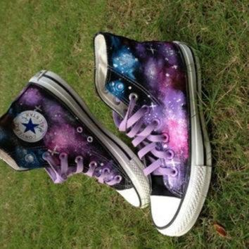 CREYUG7 Galaxy Converse Sneakers Hand Painted High Top