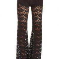 Black Lace Flared Pants