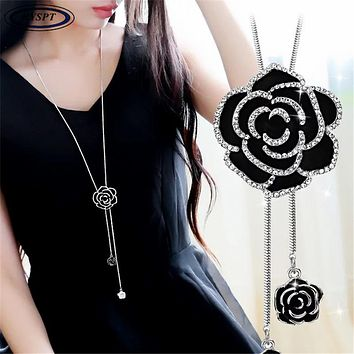 Zircon Black Rose Flower Long Necklace Sweater Chain Fashion Metal Chain Crystal Flower Pendant Necklaces Adjusted