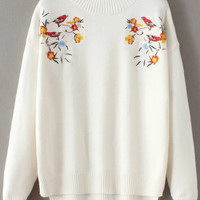 White Bird Dip Hem Sweater