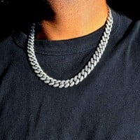 Diamond Cuban Link (12mm) in White Gold