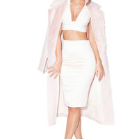 Clothing : Jackets : 'Nour' Pale Pink Wool and Faux Fur Coat