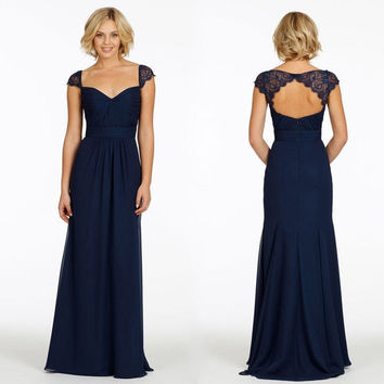 Cheap Long Navy Blue Mother of the Bride Dresses Elegant Formal Sweetheart Lace Cap Sleeve Chiffon Backless Wedding Gown Dress MQ-10085