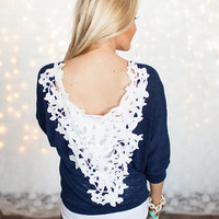 No Sweat Off My Back Lace Top Navy