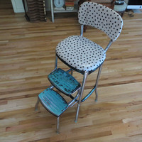 Stool Vintage Stool Retro Stool Stepstool Turquoise and Black Polka Dot Upholstered Stool Vinyl Stool Kitchen Stool Colorful Chair Highchair