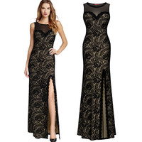 Lace Summer Women's Fashion Sexy Backless One Piece Dress [9344405508]