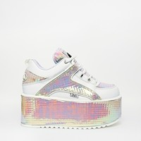 Buffalo White Irredescent Flatform Sneakers