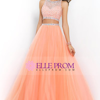 2015 Two Pieces Bateau Beaded Bodice A Line/Princess Prom Dress Pick Up Tulle Skirt Floor Length USD 194.99 EPPEYQ64Z4 - ElleProm.com for mobile