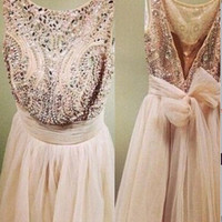 V-back Mini Chiffon Beading Homecoming Dress