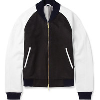 Thom Browne - Leather-Sleeved Cashmere Bomber Jacket | MR PORTER