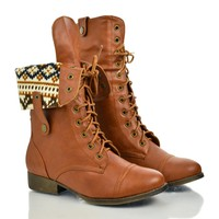 Sharpery1 Round Toe Lace Up Foldable Collar Combat Military Boot